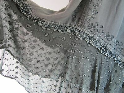 ladies indian maxi skirt green embroidered lace hippy boho gypsy new age 10
