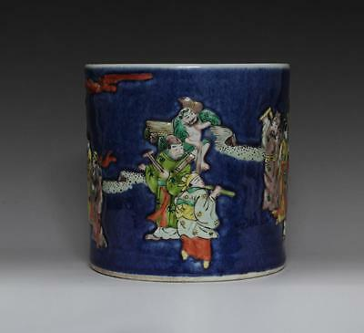 Fine Antique Chinese Famille Rose Brush Pot Porcelain Eight Immortals