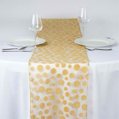 Gold DOTS on Organza TABLE RUNNER Wedding Party Catering Decorations SALE