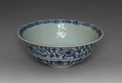 Fine Antique Chinese Carved Pattern Blue&white Bowl Porcelain