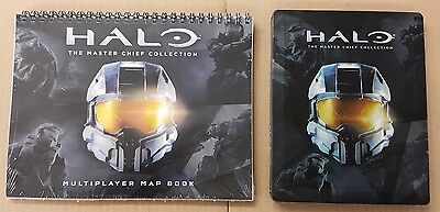 Halo- Master Chief Collection Steelbook Case + Multiplayer Map Book New Free P&P