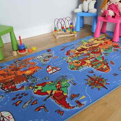 Educational FUN Colourful World Map Countries & Oceans Kids Rugs 95x200cm