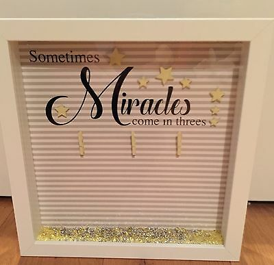 Keepsake box frame Triplets Scan photo new baby or baby shower gift