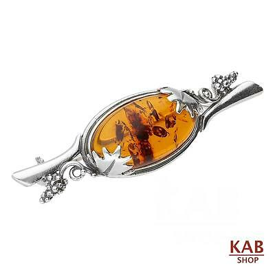 Baltic Amber Sterling Silver 925 Jewellery Beauty Brooch-Pin Kab-322 A