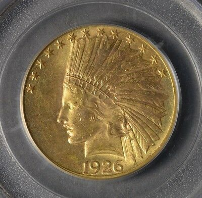 1926 G$10 Indian Head Ten Dollar Gold  Ogh!  Pq!  Ms62 Pcgs