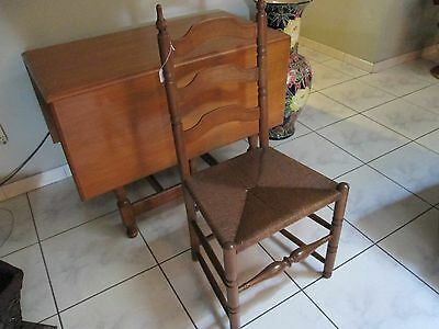 Mid Century Maple Wood Drop Leaf Table Set W/4 Ladder Back Chairs