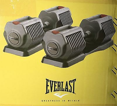 Everlast Adjustable Selectable Dumbbell Weight Set 2x25kg Cast Iron 50Kg Dumbell