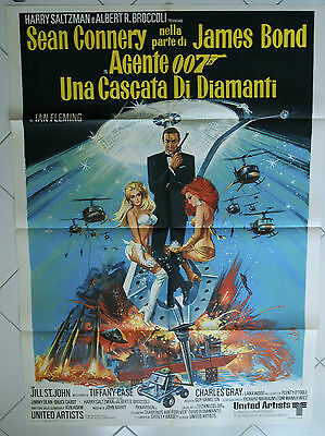 DIAMONDS ARE FOREVER James Bond 007 poster Authentic folded Italian 2F