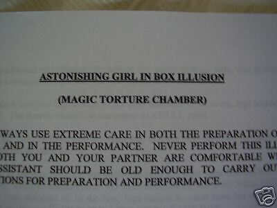 TORTURE CHAMBER stage illusion building plans Stage Magic trick.
