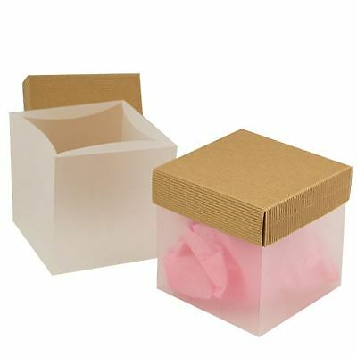 "4.75 x 4.75 x 4.75"" Natural Wave Kraft Lid Frosted Gift Box - 100 per case"