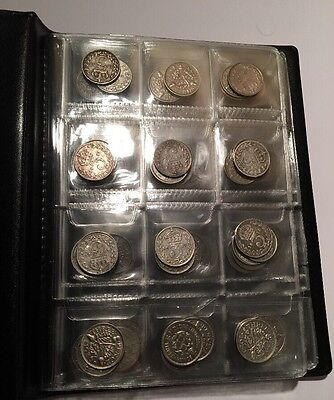 Album Of 200 Pre 1946 Silver Three pence Coins Mixed Years And Quality