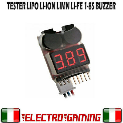 Tester per Celle batteria LiPo Li-ion LiMn Li-Fe 1-8s con buzzer SOFTAIR - BE28