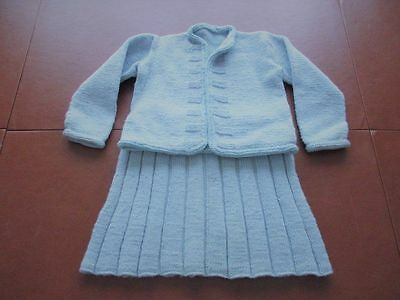 Vintage Hand Knit Blue Toddler Sweater and Skirt Outfit