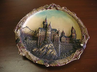 """Vintage Dimensional Castle in Mountains Collector Plate 10"""" AS/IS CONDITION #1"""