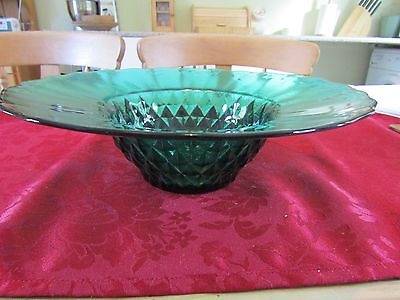 Fruit bowl in green glass with decorated base 11 inch Dia