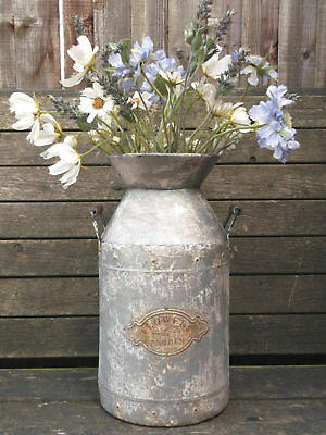 Large Antique Vintage Style French Grey Metal Milk Churn Garden Planter Vase NEW