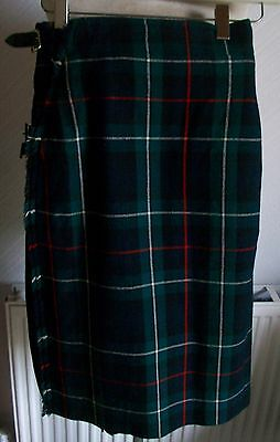 Vintage Wool Mackenzie John Tartan Kilt, Leather Straps, R.G. Lawrie, Unused