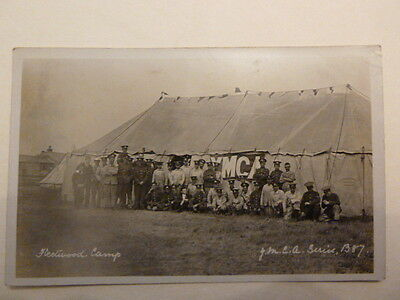 REAL PHOTOGRAPHIC POSTCARD FLEETWOOD CAMP Y.M.C.A. SERIES POSTED in 1911