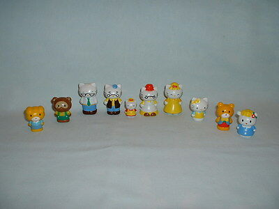 HELLO KITTY Set Of 10 Plastic Figure Toys (SANRIO/CAKE TOPPERS/SHEEP/DOG/CAT)