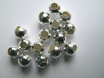 50 Silver Plated Metal Spacer Beads 6x5mm Large (3mm) Hole