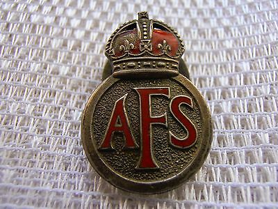 Military WWII AFS Auxiliary Fire Service metal Lapel Badge issue number 80949