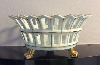 Antique Old Paris Gold Feet Reticulated Centerpiece Basket Compote Bowl