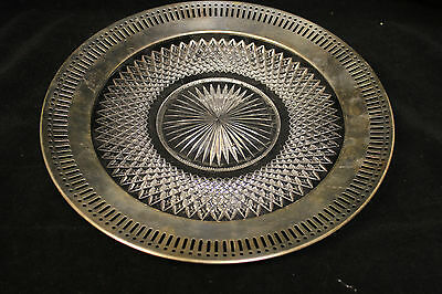 Wallace Sterling Silver Rim with Crystal Base Round Tray