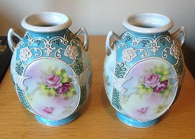 Rare Japanese Ie & C Hand Painted Vases With Moriage