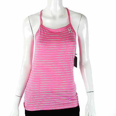 Julius & Friends Paul Frank $47 Pink White Ladies Striped Skurvy Tank Top NWT