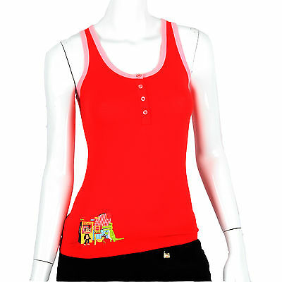 Julius & Friends Paul Frank $29 Red Roller Coaster Pajama Sleep PJ Tank Top NWT