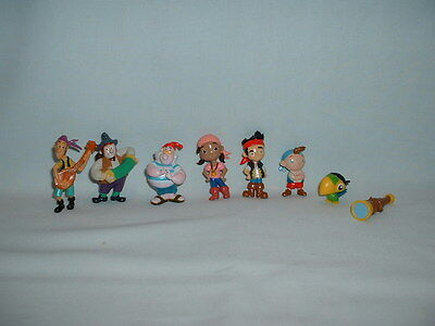 JAKE AND THE NEVER LAND PIRATES Set Of 8 Figure Toys DISNEY/PETER PAN/SMEE/IZZY
