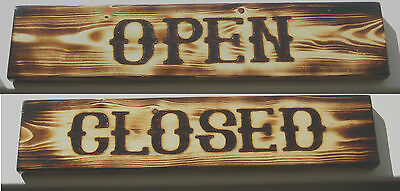 """Vintage OPEN CLOSED Double Sided Business Wood Sign Handmade Craft 16"""" x 3.5"""""""