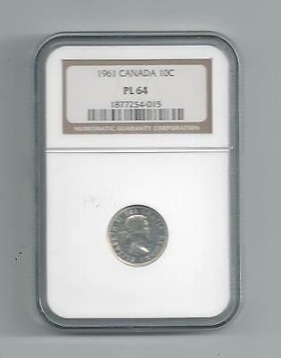 1961 Canada Ten Cent Pl 64 Ngc Silver