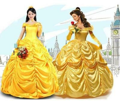 US Ship! Adult Women Beauty and Beast Princess Belle Dress Cosplay Party Costume