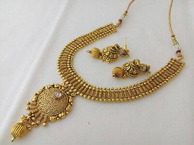 New Indian Fashion Jewelry Necklace Earring Bollywood Ethnic Bali Gold Polki Set