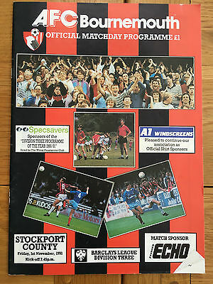 AFC Bournemouth Vs Stockport County 01.11.1991