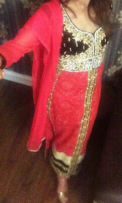 Stunning Party Outfit Dress Black And Pink Pakistani/Indian Wear