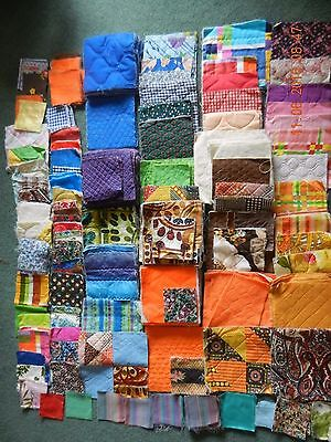 Lot of Over 600 Assorted Pre-Cut Quilting Square Blocks, Various Sizes