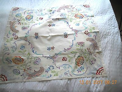 Pretty antique vintage square linen embroidery embroidered tablecloth Jacobean