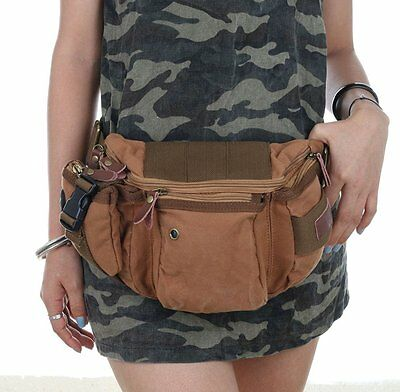 Small Waist Pouch Pack Canvas Hiking Camping Fanny Waist Sports Bag Pocket
