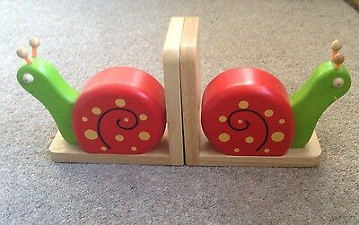 Red & Green Snail Bookends Wooden High Quality