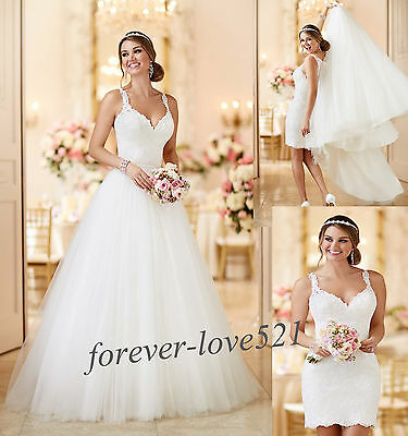 2-in-1 Removable Train Wedding Dress Bridal Gown Custom Size 4-6-8-10-12-14-16++