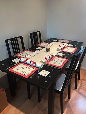 IKEA Bjursta brown-black expanding table with 4 chairs