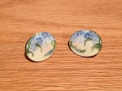 Vintage Victorian Hand Painted Stud Buttons Forget-me-Not