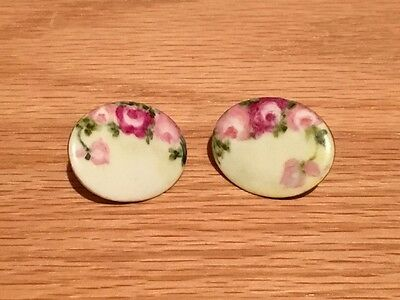 Vintage Victorian Hand Painted Stud Buttons Roses