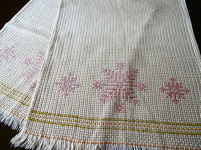Vintage, Hand Embroidered Chairback covers, Cross stitch on Binca cloth