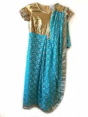 Girls S 7-8 Turquoise Blue & Gold Sari Princess Dress Up Costume