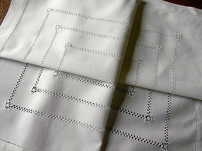 Vintage,Beautiful Drawn thread Tablecloth, White 28 x 29 inches