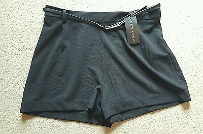 BNWT New Look Black Belted Smart Shorts Size 14