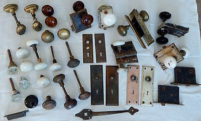 Antique Lot Of Door Knobs Various Colors And Types, Some Matching + Backplates